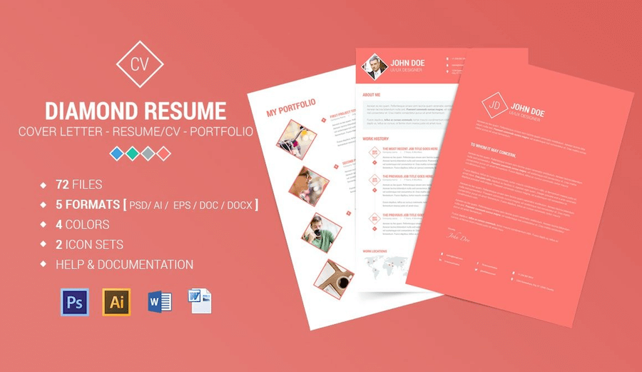 CV Template For Word  Portfolio Word Template