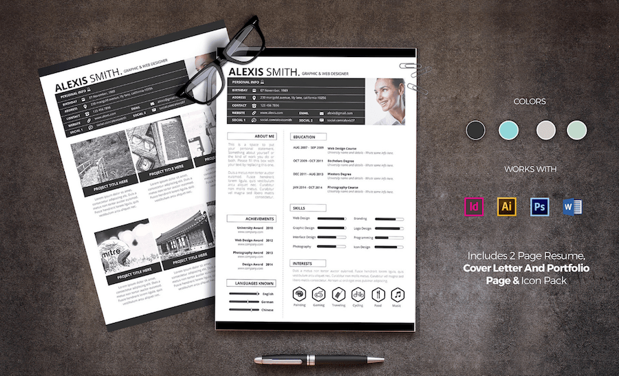 cv template for word - 2 Page Resume Template