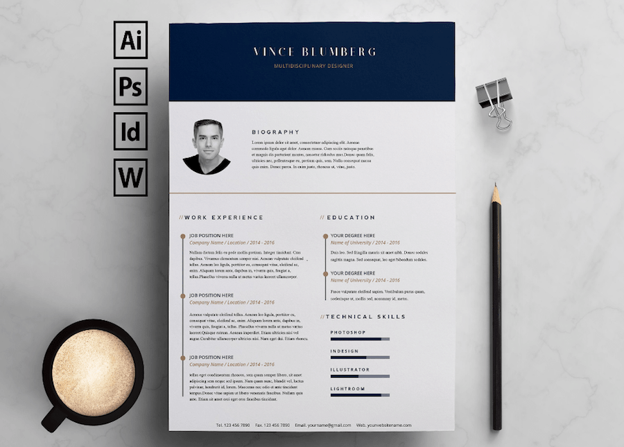 CV Template For Word  Microsoft Word Biography Template