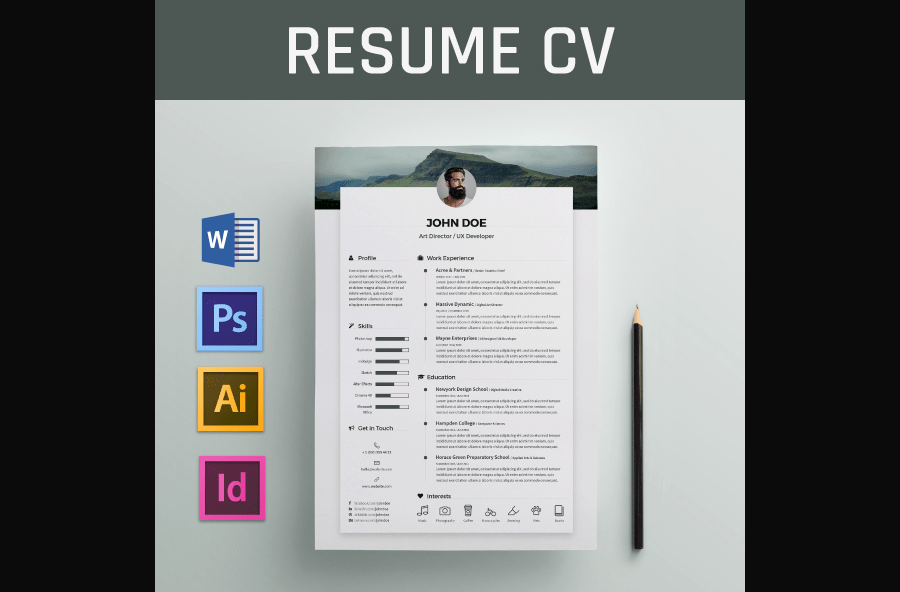 50 eye catching cv templates for ms word free to download cv template for word yelopaper Choice Image