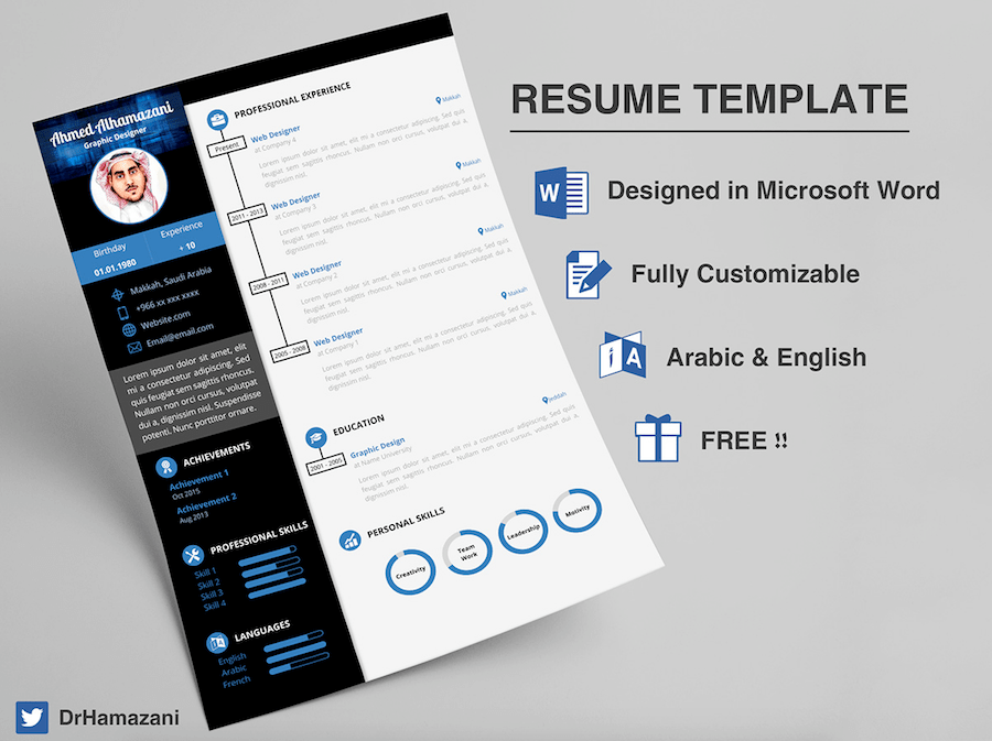 CV Template For Word  Attractive Resume Templates
