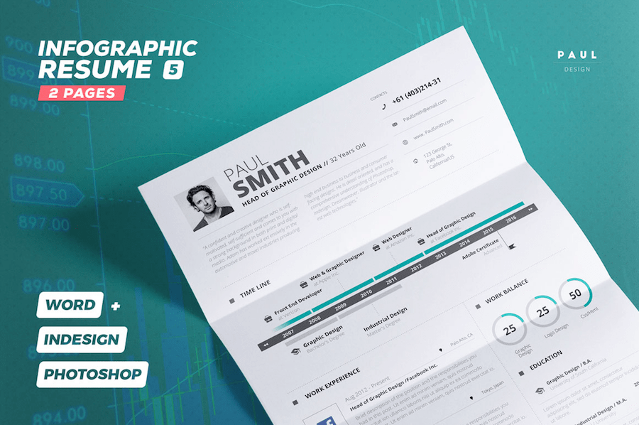 Eye Catching CV Templates For MS Word Free To Download - Infographic resume template download free