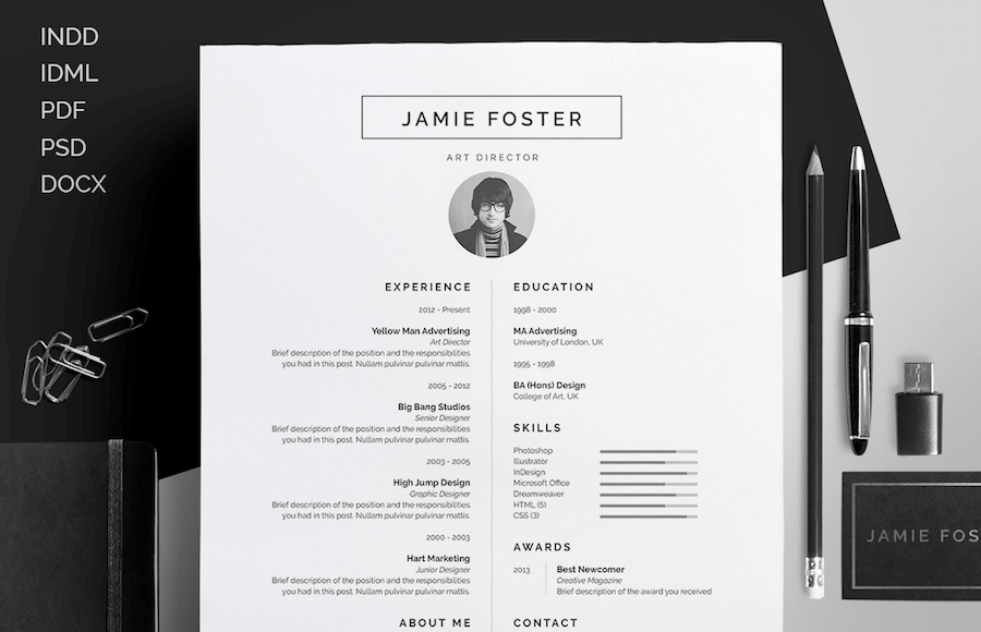 CV Template For Word  Resume Template Docx