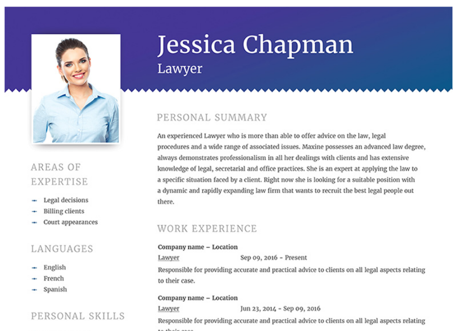 Jessica Chapman   Lawyer CV Resume Template  Resume With Photo Template
