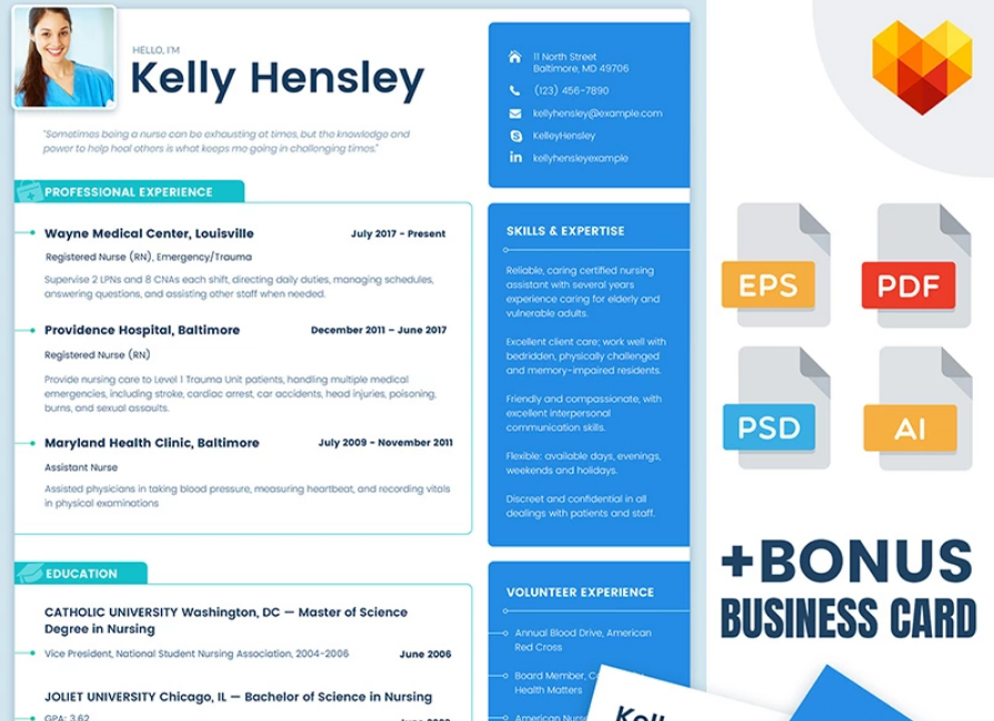 Kelly Hensley - Medical Resume Template for Nurses