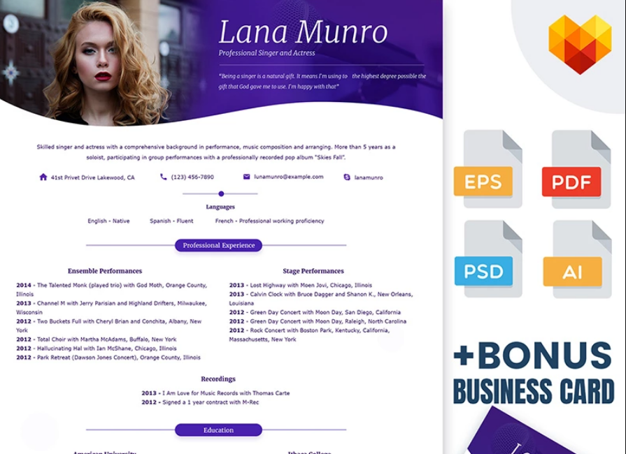 Lana Munro - Resume Template for Singer and Actor