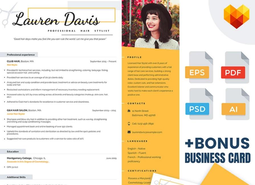 Lauren Davis Hair Stylist Resume Template