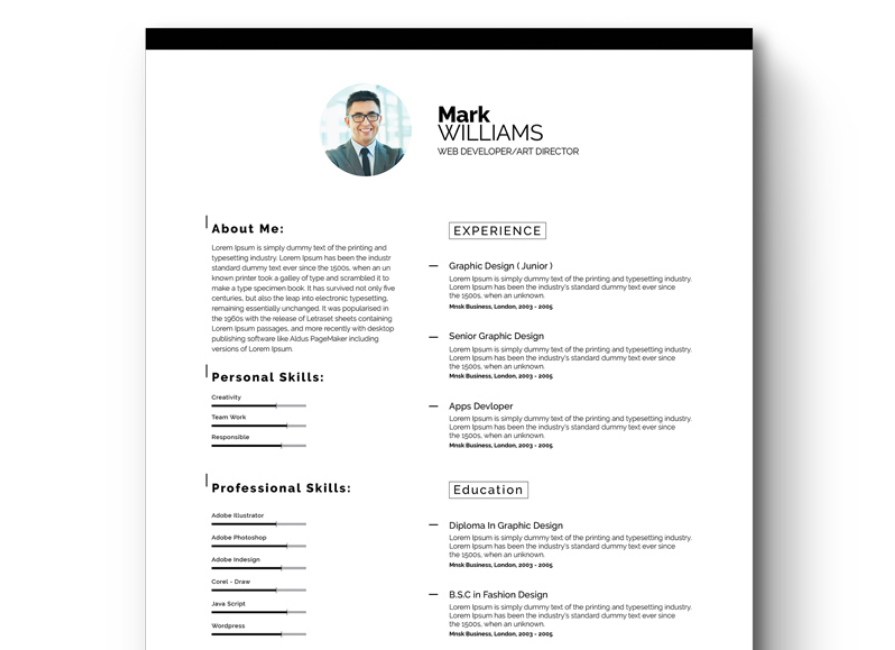 Minimal Resume/CV Resume Template  Cv Document