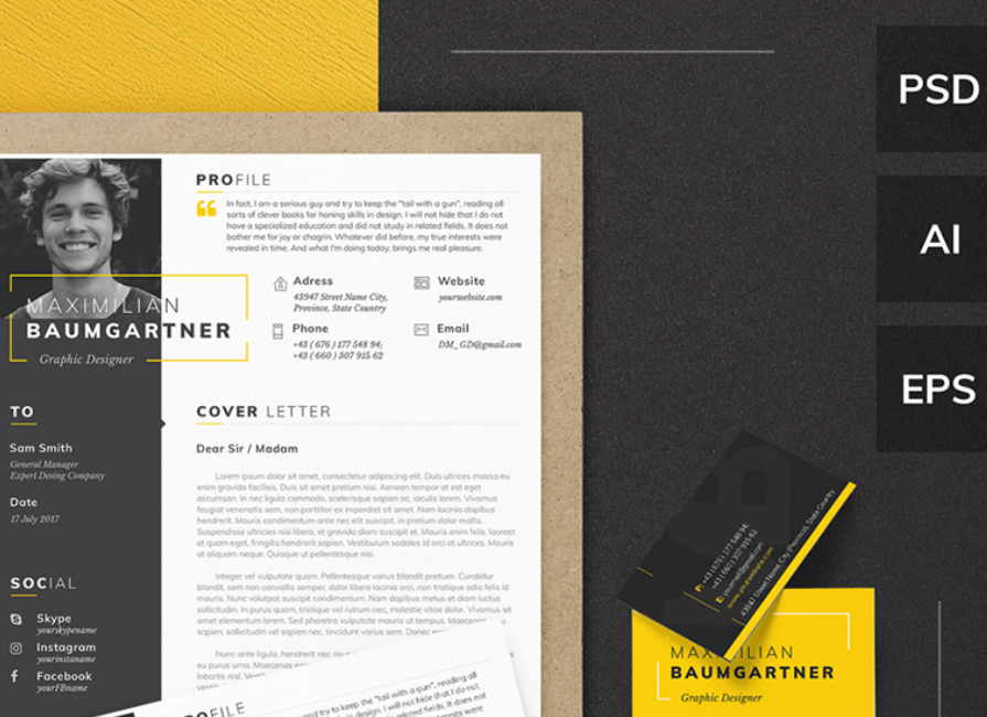 Maximilian Baumgartner   Graphic Designer Resume Template  Graphic Design Resume Template