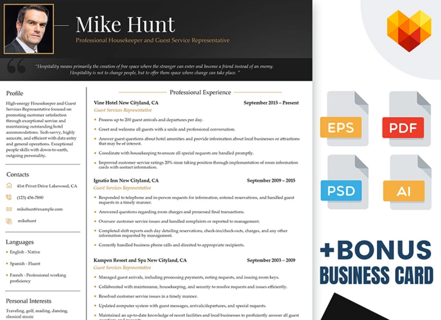 mike hunt hospitality resume template for professional housekeeper and guest service representative - Adobe Illustrator Resume Template