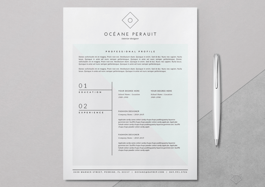 cv template for word - Fashion Design Resume Template