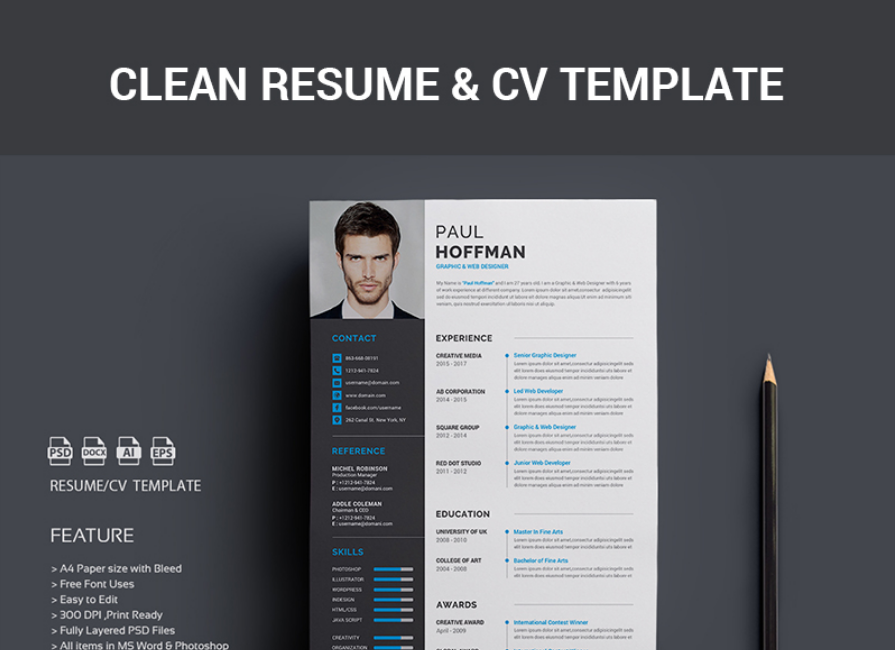 Resume   Paul Hoffman Resume Template  Psd Resume Template