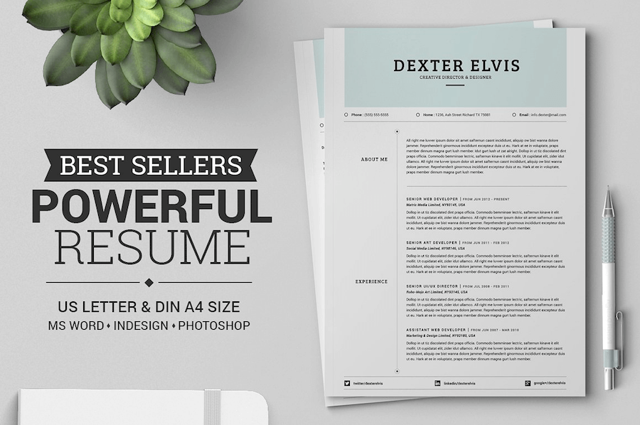 50 best resume templates for word that look like photoshop designs - Resume Templates Word Doc