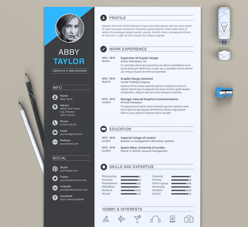 cv template for word - Eye Catching Resume Templates