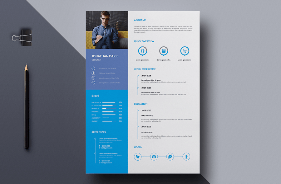 65 Eye Catching Cv Templates For Ms Word Free To Download - Template-resume-word