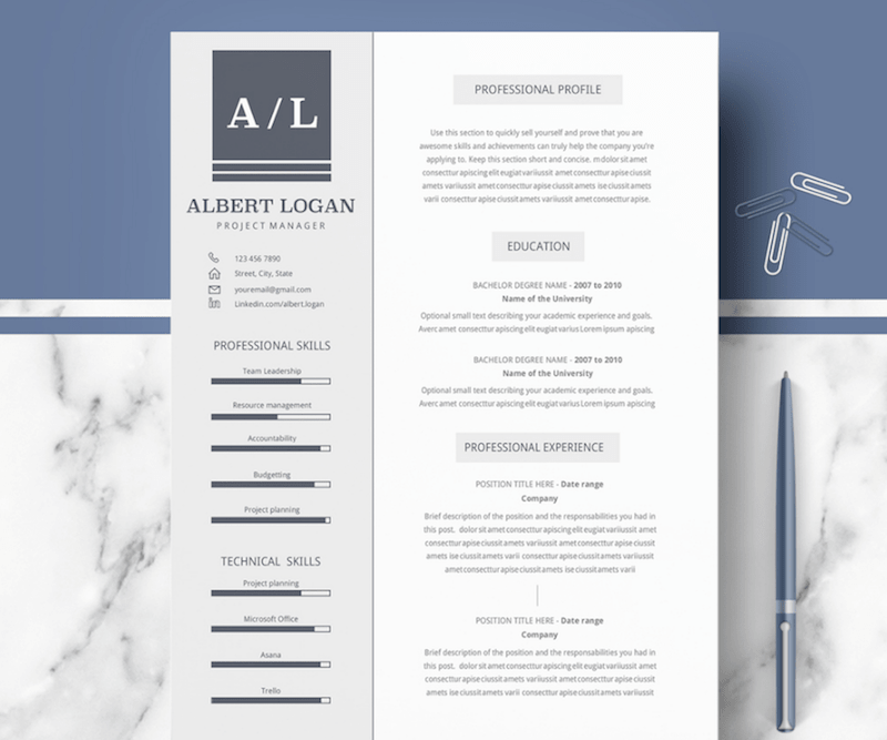 cv template for word - Professional Resume Template Microsoft Word