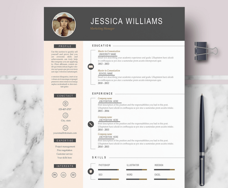 50 best resume templates for word that look like photoshop designs. Black Bedroom Furniture Sets. Home Design Ideas