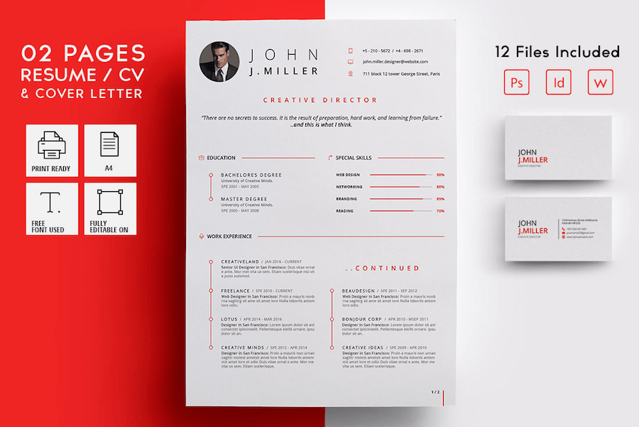 Two Page Resume CV For Word · CV Template For Word. CV Template For Word