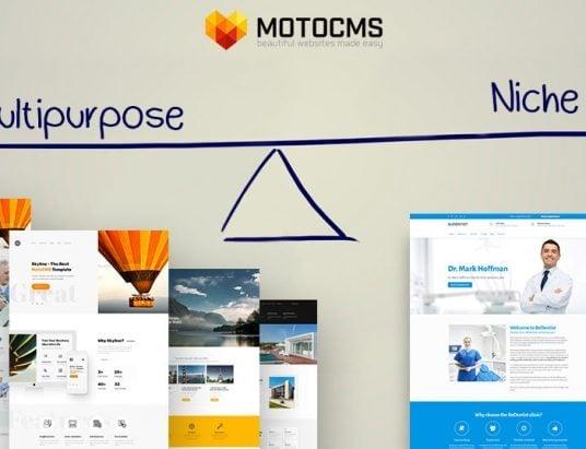 multipurpose template vs niche websites