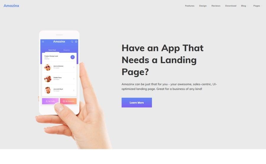 Amazinx - Mobile App Responsive One Page WordPress Theme WordPress Theme