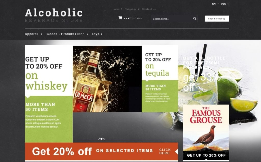 Alcoholic Beverage X Cart Template