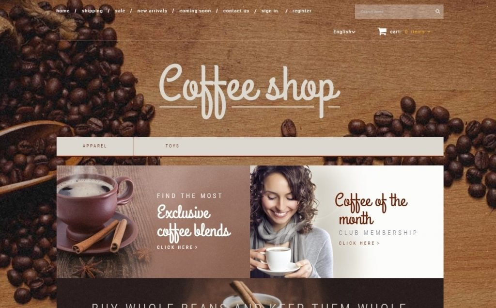 Coffee Shop X-Cart Template