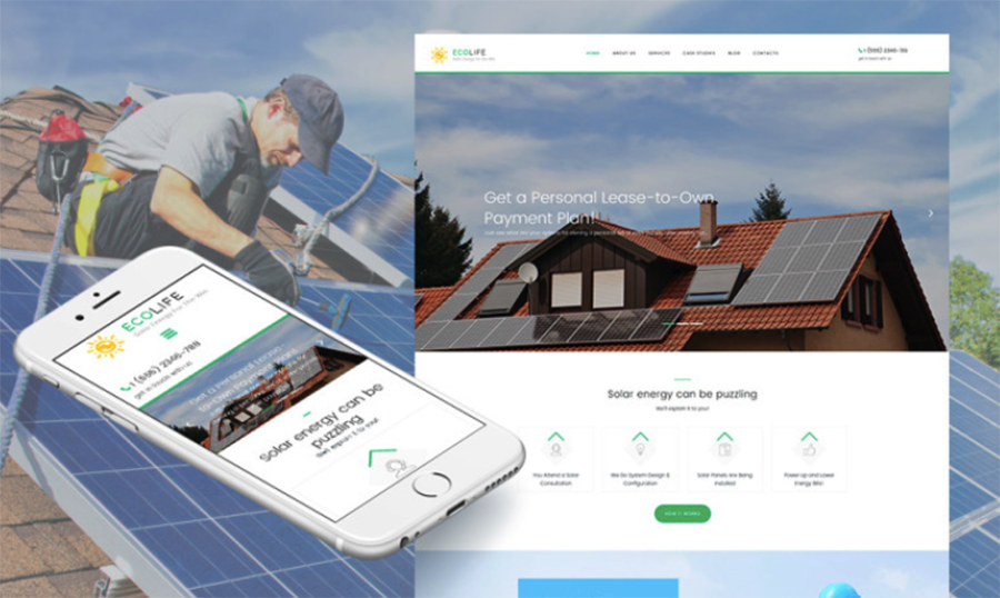 EcoLife Solar Power Responsive Moto CMS 3 Template