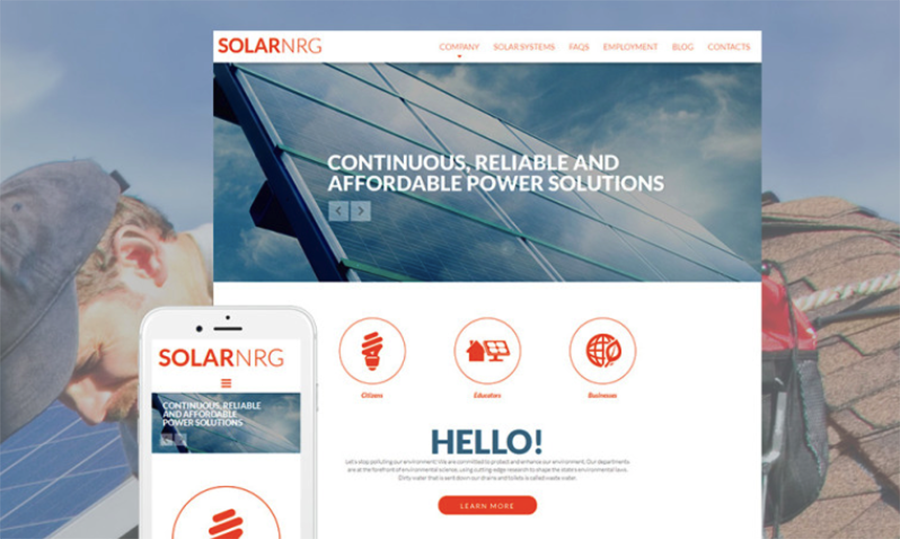 SolarNRG Solar Energy Responsive Moto CMS 3 Template