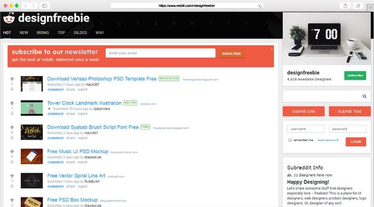 Reddit | Free Graphic & Web Design Resources