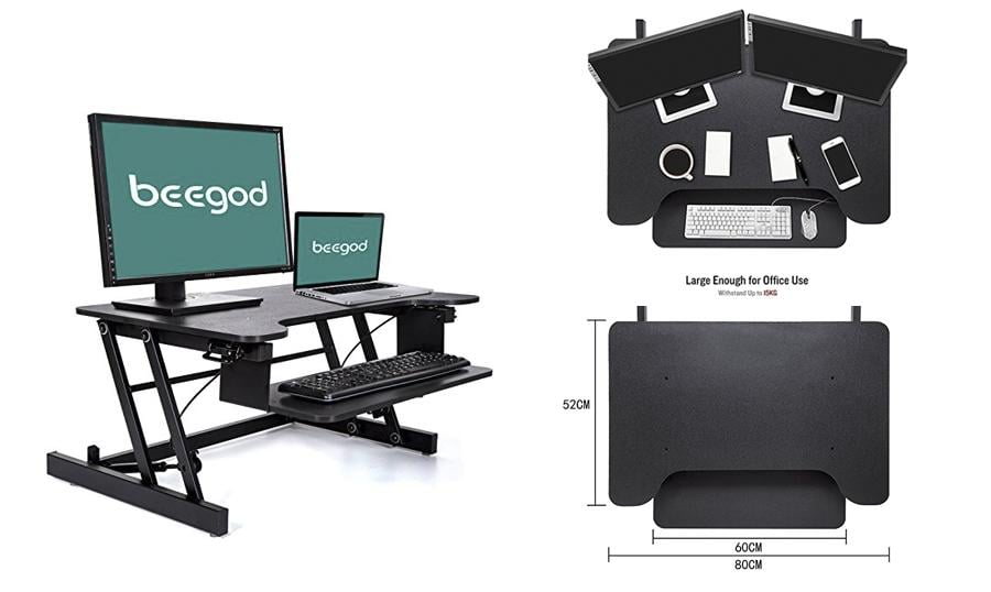Standing Desk with Wide Platform and Adjustable Height for Office Cubicles
