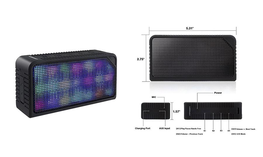 Bluetooth Speakers with 7 LED Visual Modes and Build-in Microphone Support