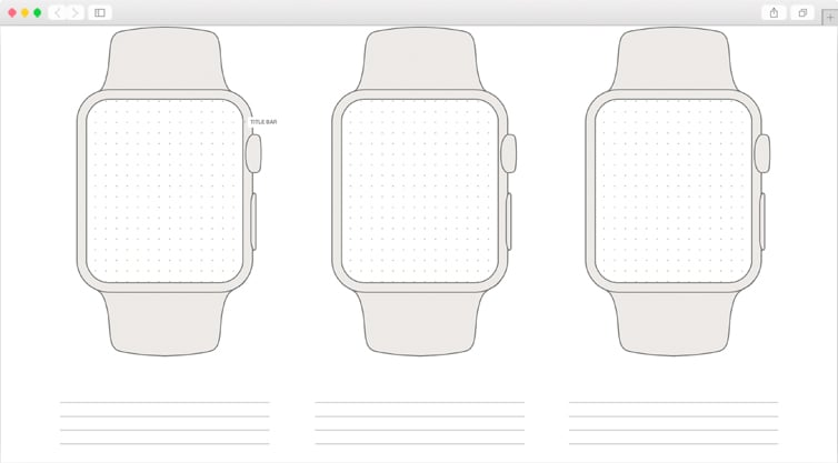 Dribbble | Free Apple Watch Wireframe Template - Printable