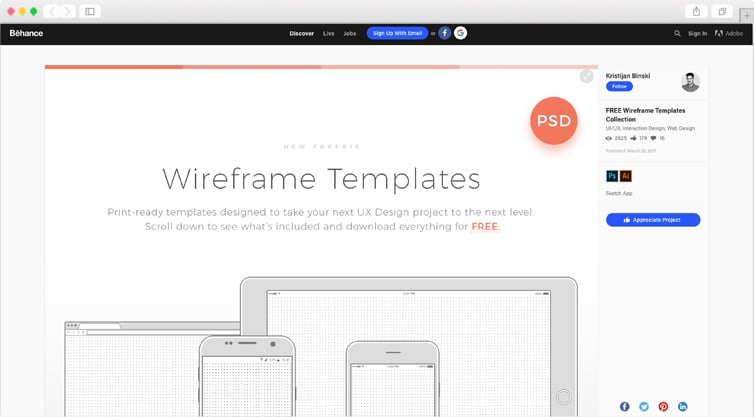 Behance | FREE Wireframe Templates Collection