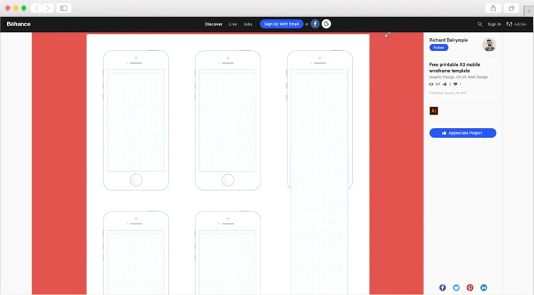 Behance | Free printable A3 mobile wireframe template