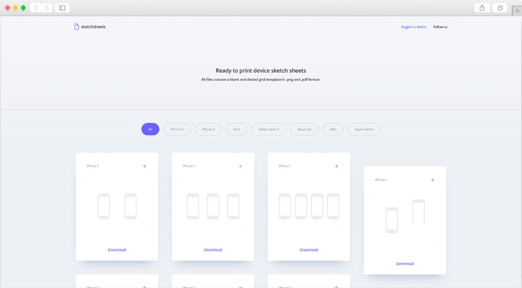 SketchSheets | Printable device sketch sheet templates for UI & UX designers