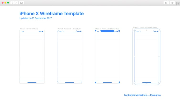 Dribbble | iPhone X Wireframe with iOS 11 Guides