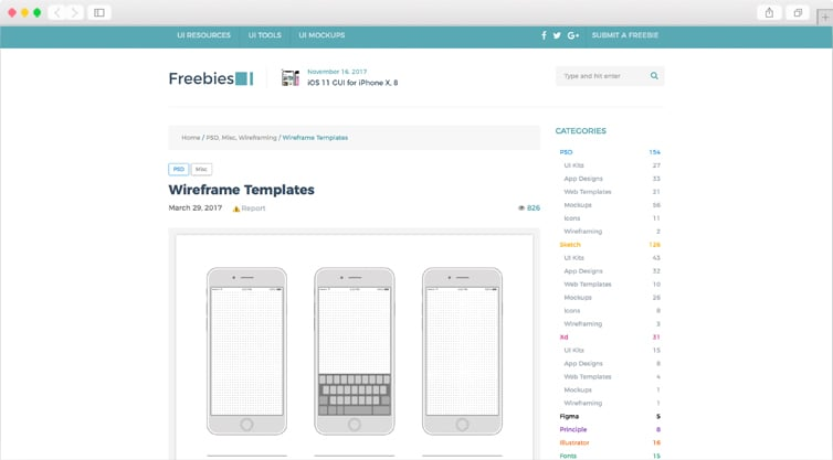 FreebiesUI | iOS, Android, iPad App or Website Wireframe Templates