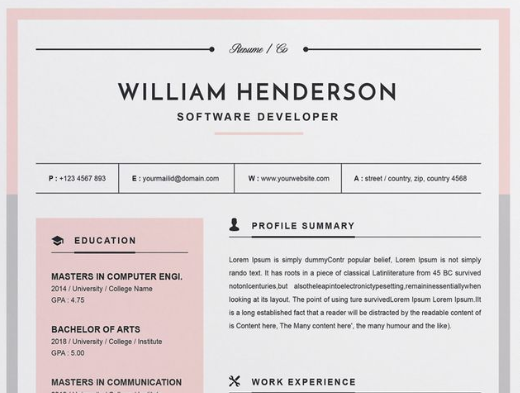 But Are Used Really Rare In CV Templates Such Kind Of Resume Will Be Perfect For A Fashion Industry Specialist Designer Or Artist