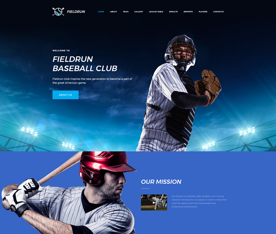 Baseball Club Premium MotoCMS 3 Template