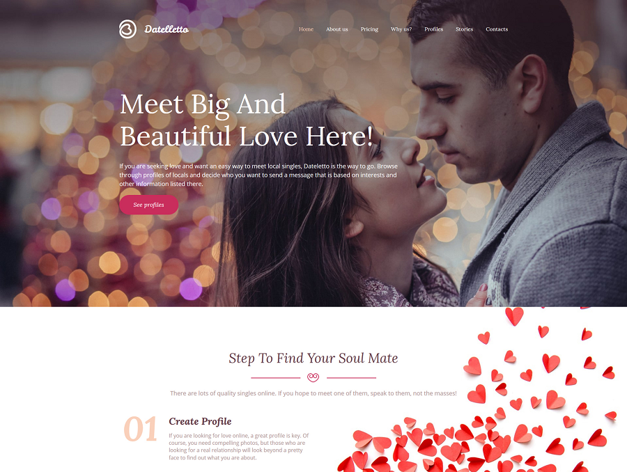 Dating Premium MotoCMS 3 Template