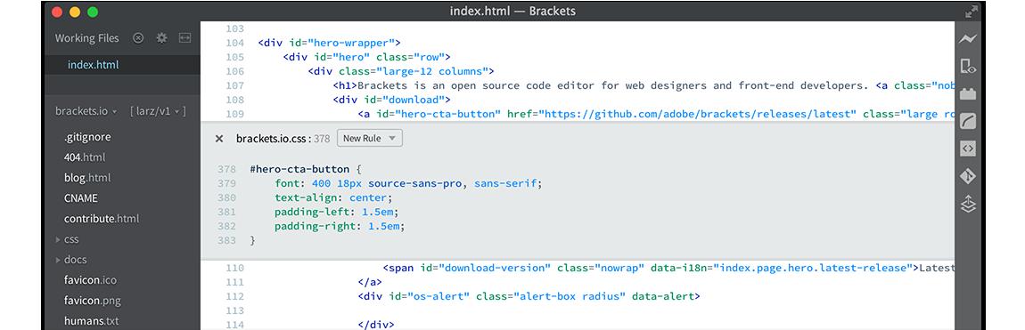 Brackets - darmowy opensourcowy edytor kodu 02