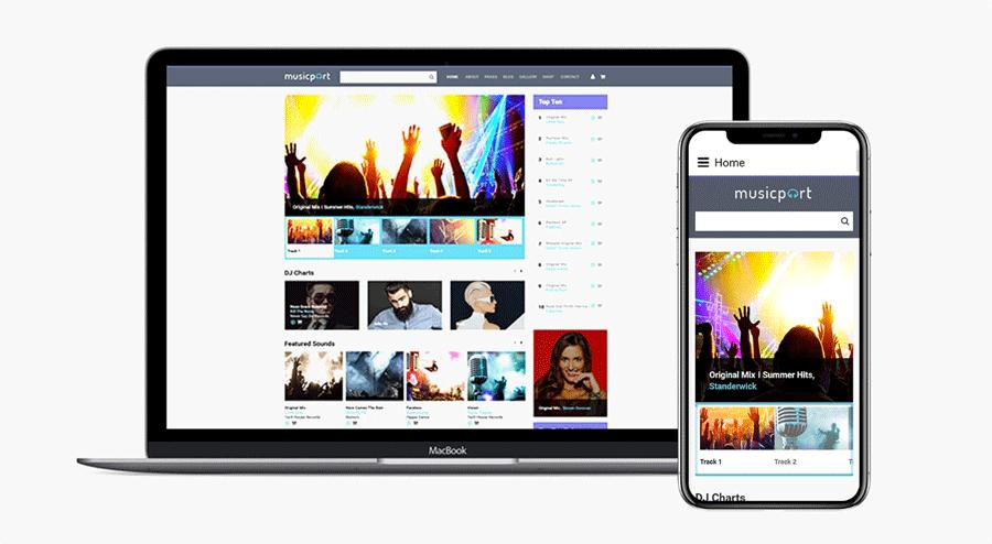 Musicport - szablon Joomla na temat Muzyka Podgląd
