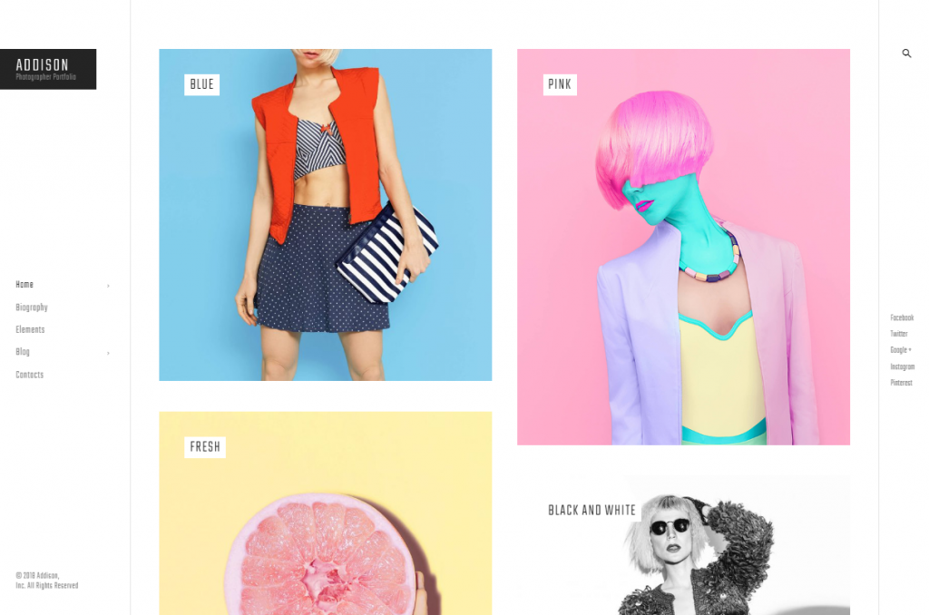 Addison - Creative Photographer Portfolio WordPress Theme