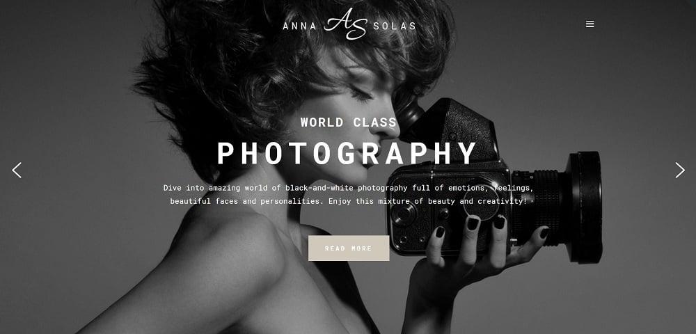 Anna Solas - Photographer Portfolio WordPress Theme