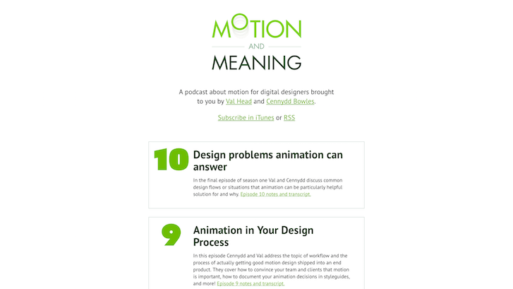 Podcasty o web design: Motion and meaning