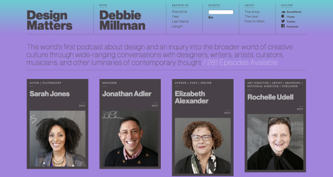 Podcasty o web design: Design matters withh Debbie Miliman
