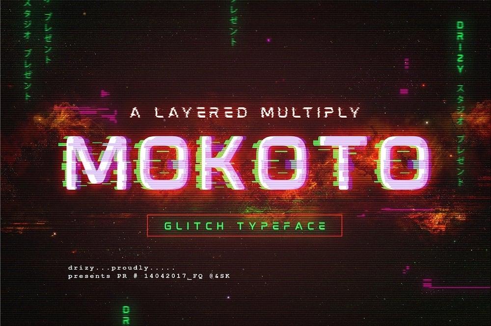 Mokoto Glitch Typeface Font