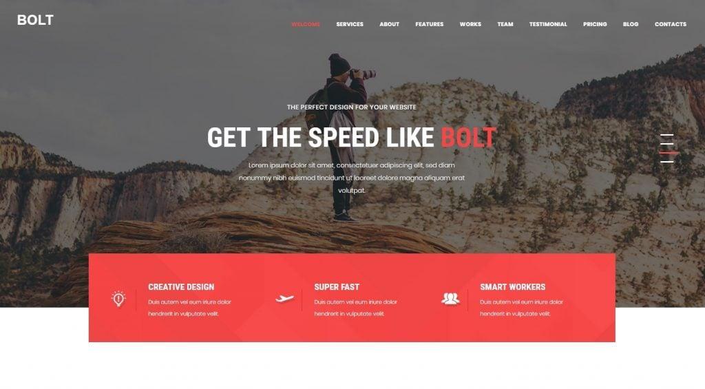 Bolt - Creative One page Portfolio WordPress Theme