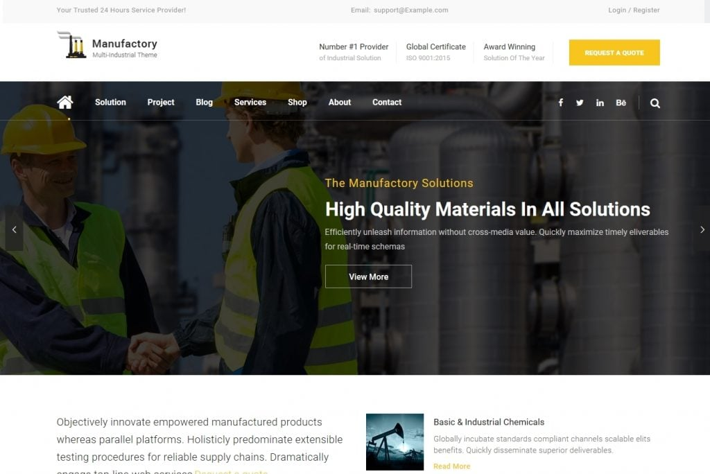 Manufactory - Industrial WordPress Theme