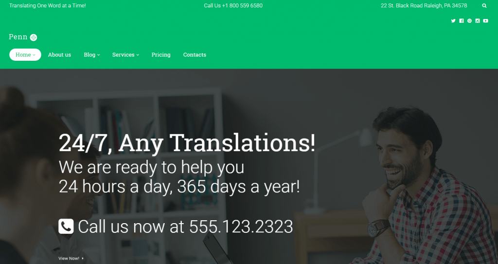 Penn - Translation Agency WordPress Theme